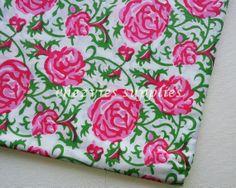 FAT QUARTER Indian Cotton fabric  Big pink by ChezviesSupplies, $2.00