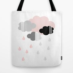 Tote bag with clouds and raindrops in black, gray and pink.on #society6 by Limitation Free