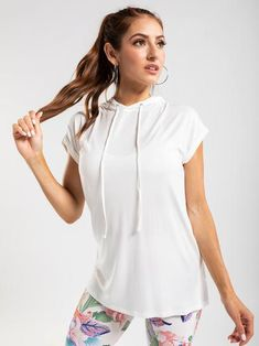 Studio to Street- super soft fabric and perfect for layering. Short Sleeve Hoodie, Short Sleeves, Get The Look, Soft Fabrics, Active Wear, Cover Up, Hoodies, Layering, Casual