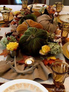 """I can smell the autumn dancing in the breeze. The sweet chill of pumpkin, and crisp sunburnt leaves."" Ann Drake I am lo. Burlap Pumpkins, Velvet Pumpkins, Fabric Pumpkins, Thanksgiving Decorations, Seasonal Decor, Thanksgiving Table, Fall Decorations, Elegant Fall Decor, Pumpkin Floral Arrangements"