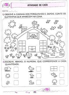 atividades de casa - 5 e 6 anos (210) Teaching Shapes, Teaching Colors, Teaching Math, Numbers Preschool, Preschool Math, Kindergarten Math, Math For Kids, Fun Math, Kids Math Worksheets
