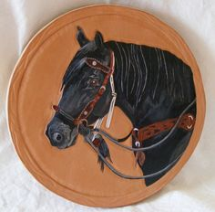 Custom equine portrait on leather, carved and hand painted  By #LoneElk on Bonanza.com