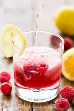 Sparkling Raspberry Lemonade (use fresh or frozen raspberries). Easy peasy and the syrup can be made in advance! @NatashasKitchen