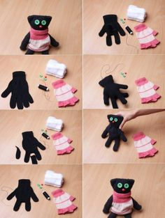 Recycled glove teddie.  I think I'll try this now...
