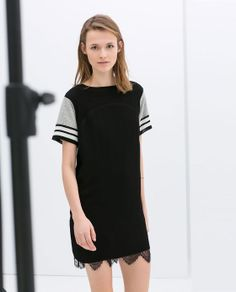 ZARA - NEW COLLECTION - DRESS WITH LACE HEM