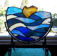 Waves: Stained glass panel with Brazilian Agate