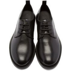 Ann Demeulemeester Black Leather Derbys (1 050 AUD) ❤ liked on Polyvore featuring shoes, oxfords, black shoes, leather lace up shoes, black lace up oxfords, black oxfords and lace up shoes