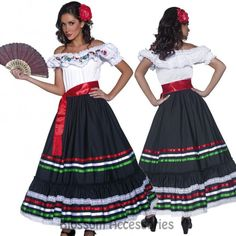 CL227 Western Senorita Costume Mexican Spanish Dancer Flamenco Spain Fancy Dress #FancyDressCostume #FullOutfits