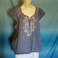 LOFT peasant top XL Gray/blue peasant top in size XL from Loft, with white embroidery. Great condition no problems. Made from cotton. Lightweight ans breezy. Happy to answer any questions.  I do bundles and accept all reasonable offers! Tops Blouses