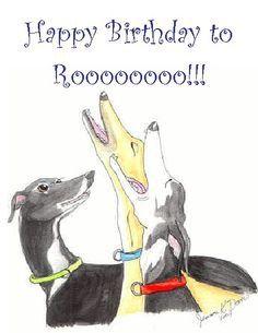 "Greyhound ""happy birthday to you! Greyhound Art, Italian Greyhound, Magyar Agar, Dog Pounds, Lurcher, Grey Hound Dog, Animal Quotes, Funny Art, Dog Art"