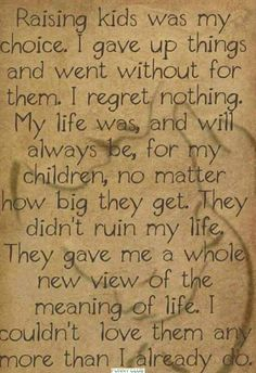 I regret nothing,my life was and will always be for my children no matter how big they get. They didn't ruin my life, they gave me a whole new view of the meaning of life Quotes For Kids, Great Quotes, Quotes To Live By, Life Quotes, Inspirational Quotes, Raising Kids Quotes, Super Quotes, Adult Children Quotes, Funny Quotes