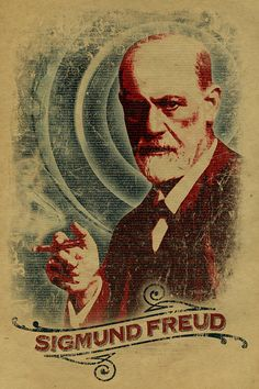 Sigmund Freud poster. 12x18. Kraft paper. Art. door UncleGertrudes