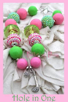 Little Girls Chunky Bubblegum Beaded Necklace - Hole in One by Buttercup Bling on Etsy, $22.00, pink green