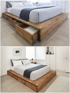 Get some extra mileage out of your sleeping space with these 12 storage beds - Platform bed with drawers Bed Frame Design, Bedroom Bed Design, Bedroom Furniture Design, Room Ideas Bedroom, Bed Furniture, Home Decor Bedroom, Furniture Storage, Modern Furniture, Platform Bed With Drawers