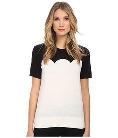Kate Spade New York Fitted Scallop Short Sleeve Sweater Black/Cream - 6pm.com