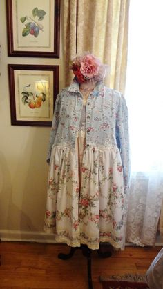 Romantic Clothing, Shabby Chic Duster, Altered Couture, Mori Girl, French Chic Clothing,  Size XL 2X Bertha Louise Designs