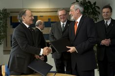 Signing of Practical Arrangements between HE Grand Chancellor Bailli Jean-Pierre Mazery of the Sovereign Military Order of Malta and Mr. Massoud Samiei, Head, IAEA's Programme of Action for Cancer Therapy (PACT) in supporting cancer control in low- and middle- income countries. IAEA, Vienna, Austria, 28 February 2012
