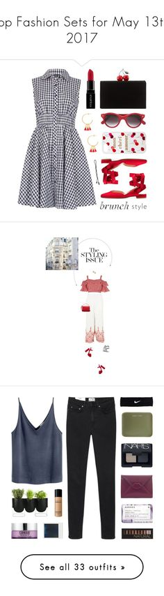 """""""Top Fashion Sets for May 13th, 2017"""" by polyvore ❤ liked on Polyvore featuring Izabel London, Cutler and Gross, Edie Parker, Smashbox, Sonix, Gorjana, Topshop, River Island, Prada and Sophie Hulme"""