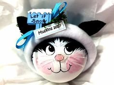Items similar to Black and White Cat Christmas Gift Ornaments Let It Snow Hand Painted Handmade Personalized Themed by Townsend Custom Gifts 637 on Etsy Cat Christmas Ornaments, Christmas Wood, Christmas Cats, Lightbulb Ornaments, Christmas Trees, Christmas Decor, Christmas Holidays, Xmas, Homemade Ornaments