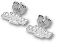 """Chevy 1/8"""" """"Bow Tie Logo"""" Post Earrings - Sterling Silver Jewelry by Logo Art. $69.09. You often see shirts, caps and jackets that feature logos from your favorite affiliation, phrase, hobby and sport. Now you can add high quality jewelry products to the list!You will love the exciting collections available! There are also more than 300 universities and sports teams to choose from so you can build a collection that is perfect for you.Logo Art manufactures the broadest and most..."""