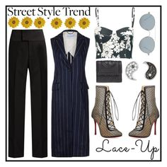 """""""Lace~Up"""" by poorvashikalra ❤ liked on Polyvore featuring Balenciaga, L'Agence, Christian Louboutin, Tory Burch, Pier 1 Imports, Sydney Evan and Gentle Monster"""