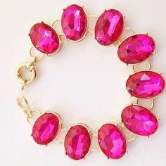 "NWOT Hot Pink Czech Crystal Statement Bracelet Bangle 7.25"" Chain Link Gift #Unbranded #Statement"