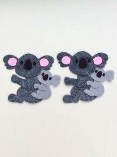 2 Felt Koala Bears And 2 Koala Babies, Embellishments, Handmade Card Toppers Koala Bears, Baby Koala, Cut Animals, Felt Projects, Animal Crafts, Handmade Baby, Embellishments, Crochet Necklace, Australia