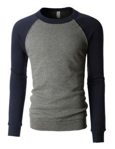 LE3NO PREMIUM Mens Basic Soft Fleece Raglan Long Sleeve Crewneck Sweatshirt