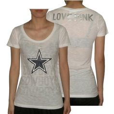 Womens NFL Dallas Cowboys T Shirt with Rhinestones by Pink Victoria's Secret Medium White