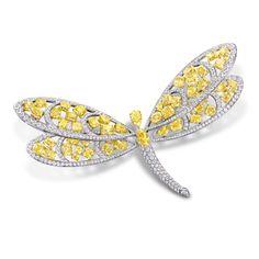 Rosamaria G Frangini | High Yellow Jewellery | Graff Yellow Diamond And White Diamond Dragonfly Brooch