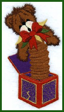 Threadsketches' Bearly Christmas, Christmas embroidery designs, bear jack-in-the-box