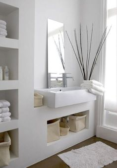 Small bathroom mirrors – If your bathroom is small and you want it to look bigger Midcentury modern bathroom Ikea bathroom Powder room Bathroom inspiration Specchio bagno Mirror ideas Bathroom Inspiration, Bathroom Interior, House Interior, Bathrooms Remodel, Bathroom Storage Shelves, Bathroom Decor, Interior, Trendy Bathroom, Modern Bathroom Design
