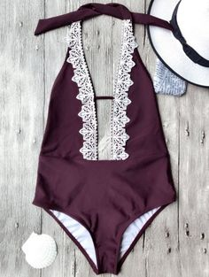 SHARE & Get it FREE | Plunging Neck Backless One Piece Swimsuit - BurgundyFor Fashion Lovers only:80,000+ Items • New Arrivals Daily Join Zaful: Get YOUR $50 NOW!