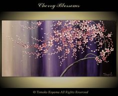 """Original Modern Art  Painting on Gallery wrapped Canvas 48"""" x 24"""", Home Decor, Wall Art ---Cherry Blossoms---. $245.00, via Etsy."""