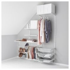 IKEA - ALGOT, Wall upright/shelves/trouser hanger, The parts in the ALGOT series can be combined in many different ways and so can easily be adapted to needs and space.You click the brackets into the ALGOT wall uprights wherever you want to have a shelf or accessory – no tools needed.Can also be used in bathrooms and other damp areas indoors.