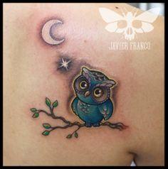 little owl tattoo ,web design by javierfranco, colombia - Tätowierung Frau Baby Owl Tattoos, Cute Owl Tattoo, Owl Tattoo Small, Mom Tattoos, Arm Tattoos For Guys, Body Art Tattoos, Tattoo Designs For Women, Tattoos For Women Small, Small Tattoos