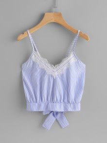 Shop Vertical Striped Split Bow Tie Back Cami Top online. SHEIN offers Vertical Striped Split Bow Tie Back Cami Top & more to fit your fashionable needs. Summer Outfits, Casual Outfits, Cute Outfits, Fashion Outfits, Fashion Trends, Women's Fashion, Umgestaltete Shirts, Shirt Blouses, Mode Grunge