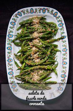 Salata de fasole verde crocanta - Andie Romanian Food, Romanian Recipes, Vegan Recipes, Cooking Recipes, Food Inspiration, Asparagus, Green Beans, Vegetables, Healthy
