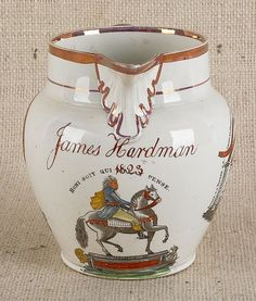 English pearlware jug, dated 1823, inscribed James Hardman