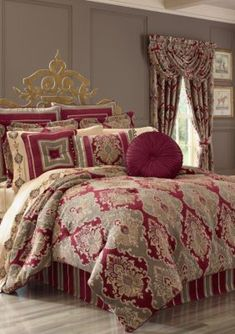 Add vibrancy and bold style to your bedroom's décor with the Crimson Comforter Set by J. Queen New York. A gorgeous brocade motif with hints of beige against a rich bed background adds a regal and sophisticated ambiance to your home. Luxury Comforter Sets Queen, Full Comforter Sets, Red Comforter, Floral Comforter, California King, Console, Bed Bath & Beyond, Colorful Bedding, Black Bed Linen