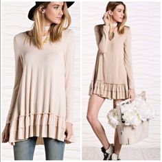 Last Item •Ruffle Tunic Cape Dress A line In light tan / cream color only . Layer over lace extender to make it into a dress or wear it under a tunic to give a layered look . Multi-purpose tunic top available in Small  A line Pastel Vivacouture Dresses Long Sleeve
