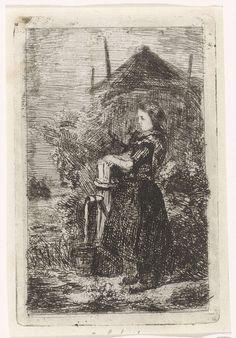 Kornelis Jzn de Wijs | Meisje bij een waterpomp, Kornelis Jzn de Wijs, 1842 - 1896 | Een meisje bij een waterpomp. Op de achtergrond een hooiberg.