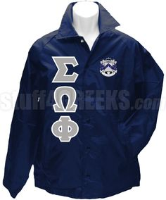 Navy Blue Sigma Omega Phi crossing jacket with the crest on the left breast and the Greek letters down the right.