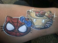 Hello kitty as Spiderman & Ironman face paint design. Too cute!