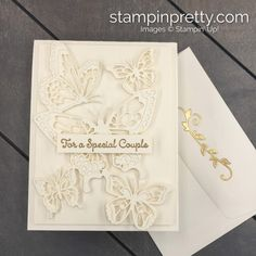 Beauty Abounds Very Vanilla Wedding/Anniversary Card (Mary Fish, Stampin' Pretty The Art of Simple & Pretty Cards) Wedding Shower Cards, Mary Fish, Stampin Pretty, Wedding Cards Handmade, Thanks Card, Wedding Anniversary Cards, Butterfly Cards, Pretty Cards, Paper Pumpkin