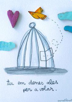 Tú me das alas para volar | Láminas originales | Anna Llenas Cut Paper Illustration, Conte, Paper Cutting, Positive Quotes, Art For Kids, My Love, Drawings, Collages, Creative
