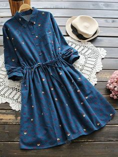 Deep Blue Fall and Spring No Others Long Shirt Knee-Length A-Line Causal and Going Casual Christmas Drawstring A Line Dress Modest Outfits, Trendy Outfits, Trendy Fashion, Casual Dresses, Cute Outfits, Fashion Women, Floral Dresses, Long Dresses, Fashion Fall