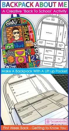 Create a 'Backpack About Me'! Get to know upper elementary and middle school kids with this easy and fun art and writing activity for the classroom. All About Me Activities, First Day Of School Activities, Writing Activities, Writing Resources, Middle School Art, Art School, School Kids, All About Me Art, All About Me Display