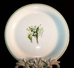 """Homer Laughlin Lily of the Valley Swing 8"""" Salad Plates (4 AVAIL.) from ruthsredemptions on Ruby Lane"""