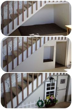 Under the basement stairs play house / book nook Under Stairs Playroom, Under Stairs Playhouse, Basement Stairs, Kid Playhouse, Dog Stairs, House Stairs, Dog Houses, Play Houses, Dog Rooms
